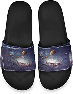 Beautiful Planet in Outer Space Men's Summer Sandals Slide House Adjustable Slippers Indoor Boys