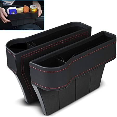 Car Seat Gap Filler Keys Seat Console Side Pocket for Cellphones Cards 2 Pack PU Car Seat Storage with Cup Holder Wallets Driver Side /&Co-Driver Side CAMTOA Car Seat Organizer Sunglasses