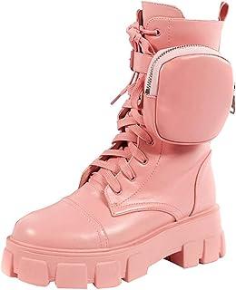 YWZQ Bottes à Semelles épaisses pour Femmes Bottes à Plateforme élégantes avec Petite Poche Femmes à Lacets Bottes à tête ...