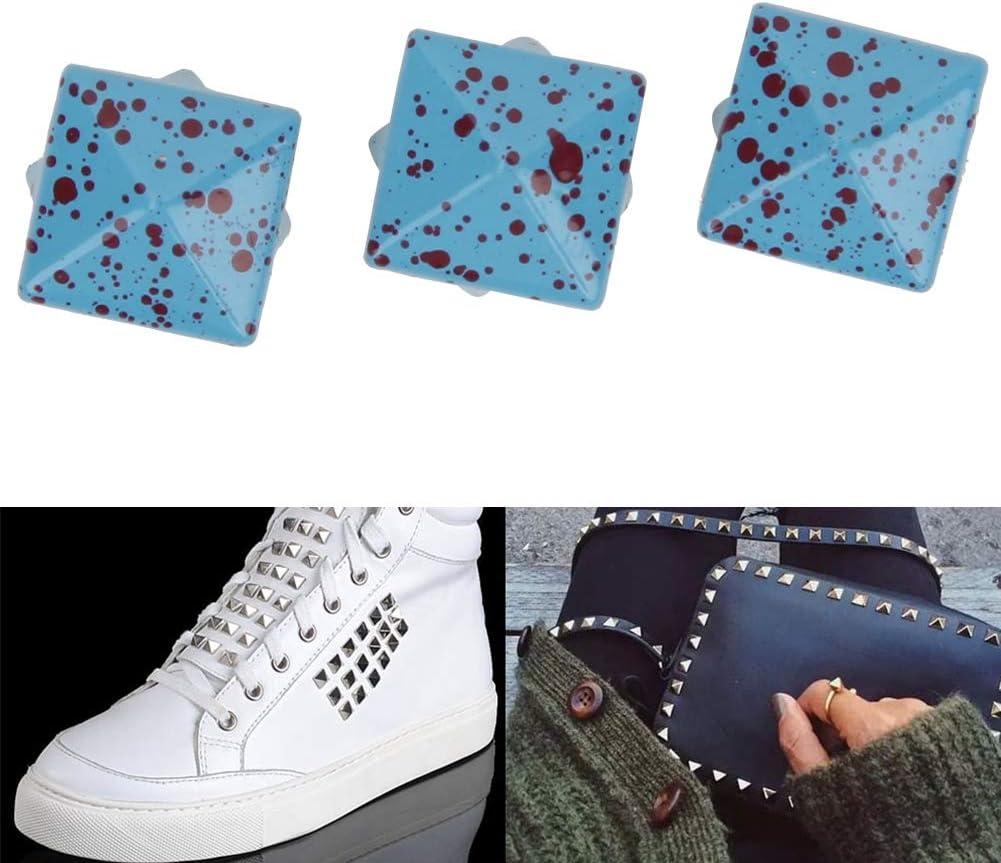 HEEPDD 200 Pcs Pyramid Stud Bleu 10 MM Square Spike Studs DIY Leathercraft Spike Rivets Bag Leather Clothing Bag Decorative Shoes Rivet