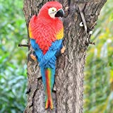 シミュレーションオウムリアルなフライングバード置物玩具樹脂飾りハーフサイドリアルな彫刻ミニチュア動物モデル鳥クラフト鳥ホームガーデンの装飾(Red-1#)