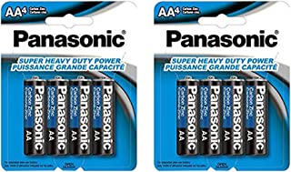 21Supply jghv 8X Panasonic AA Batteries, Heavy Duty Double A 1.5V Carbon Zinc 4Pk x 2, Black