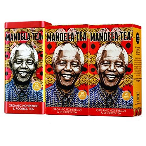 Mandela Tea Organic Honeybush & Rooibos Tea (60 Bags) | Red Herbal Tea from South Africa | Includes Stay Fresh Tin | No Calories or Caffeine | Antioxidant Rich All Natural Tea Leaves