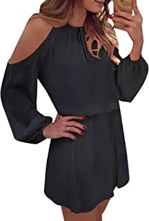 YOINS Sommerkleid Damen Kurz Schulterfrei Kleid Elegante Kleider für Damen Strandmode Langarm Neckholder A Linie