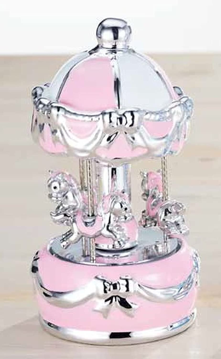 Pink music box with little silver baby ponies with colord lights cod.BI01540SP cm 16h diam.9 by Varedto & Co.
