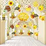30 Pieces Bee Hanging Swirl Decorations, Yellow Black Sweet as Can Honey Bee Birthday Party Foil Ceiling for Bee Birthday Party Gender Reveal Party Garden Fairy Party Baby Shower Supplies
