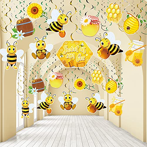 30 Pieces Bee Hanging Swirl Decorations, Yellow Black Sweet as Can Honey Bee Birthday Party Foil Ceiling for Bumble Bee Birthday Party Gender Reveal Party Garden Fairy Party Baby Shower Supplies