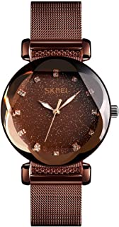 TONSHEN Womens Luxury Fashion Stainless Steel Watches Analog Quartz Luminous Pointer Casual Business Elegant Dress Watches for Girl Polygonal Crystal (Dark Brown)