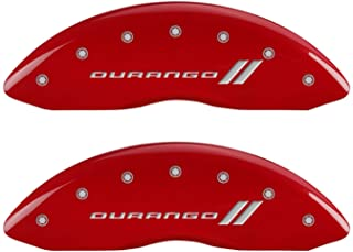 MGP Caliper Covers 12134SDGORD Durango ll Engraved Caliper Cover with Red Powder Coat Finish and Silver Characters, (Set of 4)