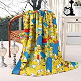 COOLGOOD Mom Marge Blue Beehive Hairstyle Twin Size Cartoon Fuzzy Blanket Super Soft Cozy Fleece Blanket for Bed/Sofa 60' X 80'