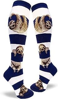 Women's Sloth Stripe Knee High Socks (Fits Most Women Shoe Size 6-10)