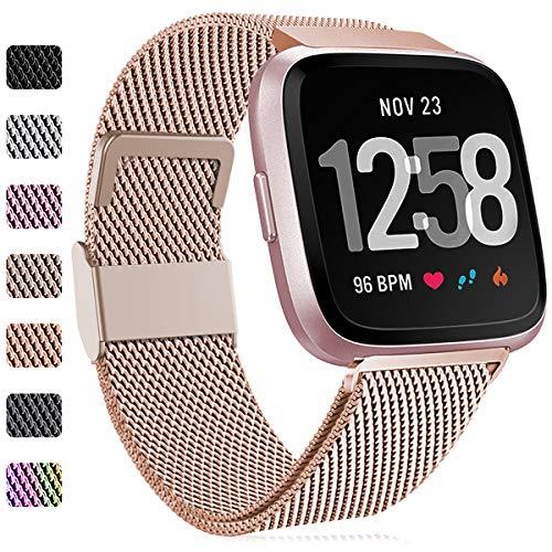 Faliogo Bracelet de Remplacement Compatible avec Fitbit Versa Bracelet/Fitbit Versa 2 Bracelet, Bande Réglable en Métal en Acier Inoxydable Compatible avec Fitbit Versa Lite, Grand, Royal Gold