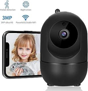Dericam Cámara de Seguridad WiFi 1080P Monitor de vídeo vigilancia con cámara de detección de Movimiento inalámbrico IP de Alta definición móvil aplicación de Control de Dos vías de Audio Negro.