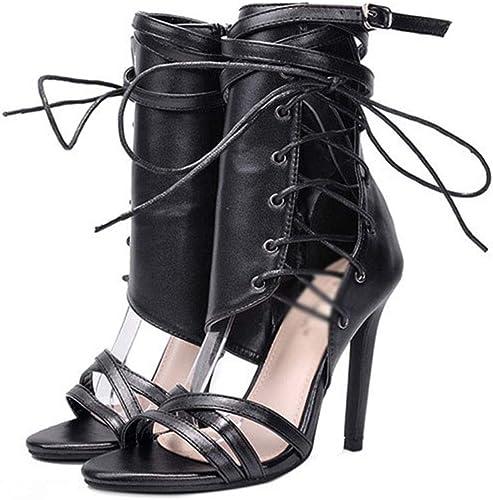 WQLESO WQLESO Femmes Sandales à lanières Stiletto Talon Haut Les Les dames Sangle Cheville Peep Toe Sexy Fashion Party Chaussure de Bal,noir-36  magasin fait l'achat et la vente