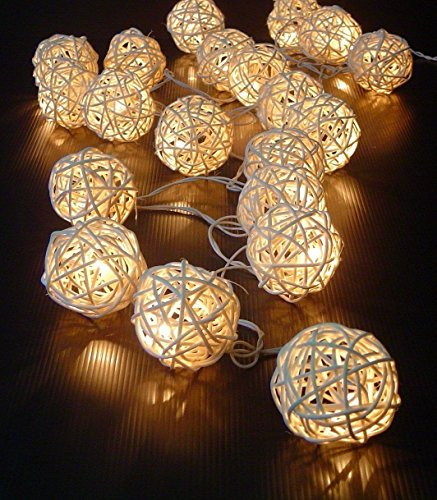 LIFECART 20 LED Rattan Ball Fairy String Lights Patio Lighting for Outdoor, Gardens, Homes, Wedding, Christmas Party-White