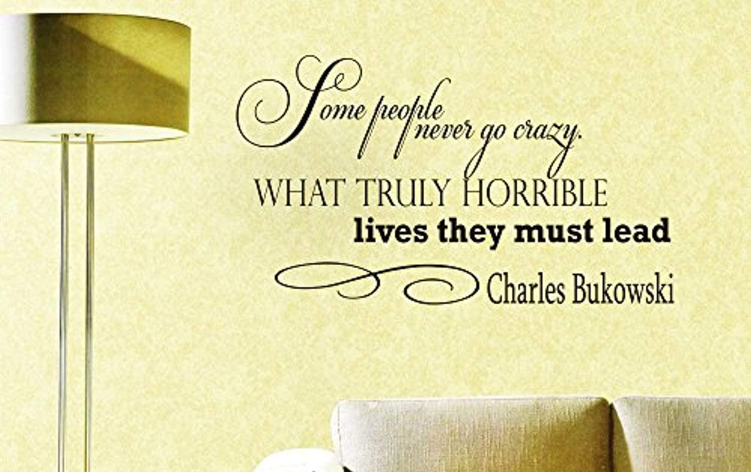 Wall Vinyl Decal Quote Sticker Home Decor Art Mural Some People Never go Crazy. What Truly Horrible Lives They Must Lead Charles Bukowski NG121