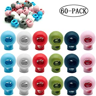 100 Pieces Spring Cord Lock Single Hole Cord Locks Round Toggle Stoppers Sliding Cord Fastener Locks End White,19 x 15 mm,Q2680