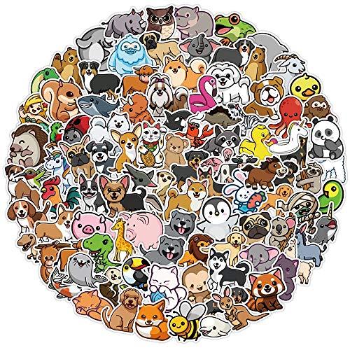 WUWEI Bonita Pegatina de Animal de Dibujos Animados, Equipaje de Motocicleta, Guitarra, monopatín, Pegatina de Graffiti Genial, calcomanía para niños, Juguete de Regalo, 100 Uds.