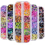 5 Box/60 Grids Nail Sequins, Kalolary Nail Art Flake Nail Glitter Paillette Mixed Round Th...