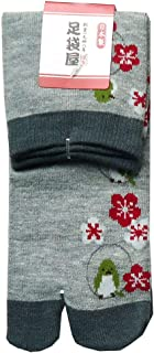 足袋屋 レディース 鶯 鳥 柄 足袋 クルー 丈 ソックス (婦人 日本製 靴下) 22-25cm