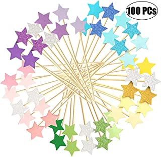 Monyus 100 Pcs Little Star Cupcake Toppers, Decorations for Baking Dessert, Birthday Party, Baby Shower, Bridal Shower, Wedding, Cocktail Forks Party
