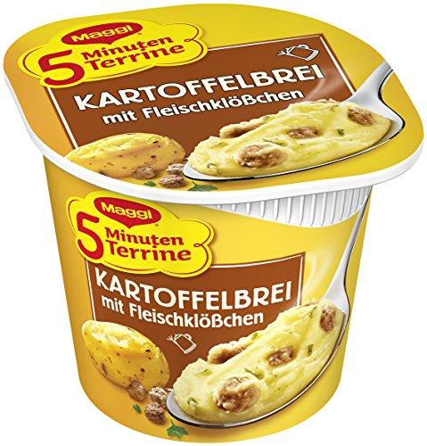 Maggi 5 Minuten-Terrine Kartoffelbrei mit Fleischklößchen, 8er Pack (8 x 49 g Becher)