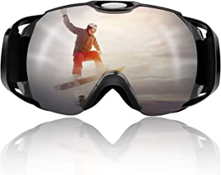 Venoro Ski Goggles, OTG Snowboard Goggles Anti-Fog UV Protection Spherical Dual Lens Triple-Layer Foam Pad, ATV Goggles with Adjustable Strap for Men, Women and Youths
