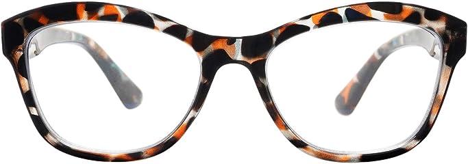 AMOMOMA Cateye Reading Glasses Blue Light Blocking Glasses Anti Eyestrain Readers Eyeglasses with Spring Hinge AM6004