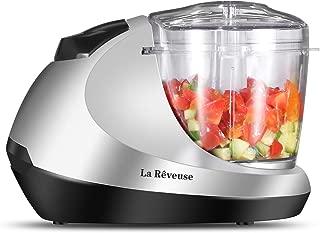 La Reveuse Electric Mini Food Chopper, Vegetable Fruit Cutter, Meat Grinder Mincer with 1.3-Cup Prep Bowl, Silver, LARB1809