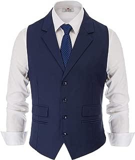 Men's Slim Fit Business Suit Vest Tailored Collar Casual Waistcoat