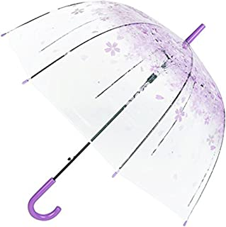 Women Rain Sun Umbrella Long Handle Cherry Blossom Mushroom Princess Transparent Umbrellas Purple