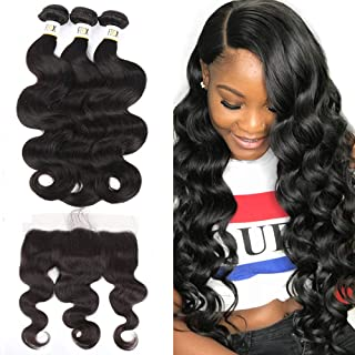 FDX 9a Brazilian Virgin Human Hair Bundles with Lace Frontal Pre Plucked Body Wave,100% Unprocessed Weave Hair Human Bundles with 13x4 Frontal Free Part Ear to Ear Natural Color (12 14 16+10inch).