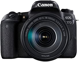 Canon EOS 77D EF-S 18-135mm F3.5-5.6 IS USM lens , 24.2 MP DSLR Camera, Black