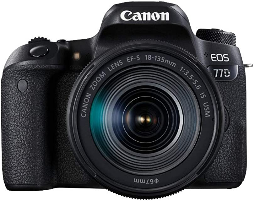 Canon EOS 77D - Cámara réflex de 24.2 MP (vídeo Full HD WiFi Bluetooth) color negro - kit cuerpo con objetivo EF-S 18-135 IS USM