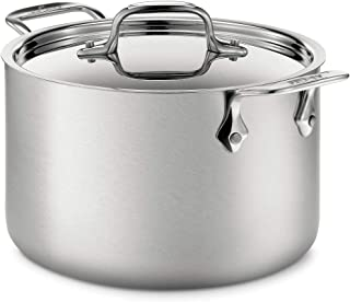 All-Clad BD552043 Stainless Steel D5 Brushed 5-Ply Bonded Dishwasher Safe Soup Pot with Lid, 4-Quart, Silver 4-Quart Silve...