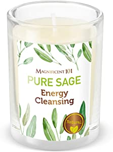 MAGNIFICENT 101 Pure SAGE Smudge Candle for House Energy Cleansing, Banish Negative Energy, Spiritual Purification and Chakra Healing - Natural Soy Wax Candle for Aromatherapy (Pure Sage)