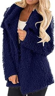 JESPER Womens Lapel Faux Fur Plush Jacket Shearling Fuzzy Fleece Teddy Bear Coat Warm Outwear with Pockets