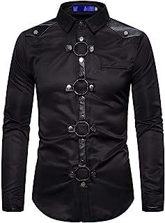 Camisas Gótico Hombre Camisa Medieval Steampunk Personalidad de los Hombres Blusa Victoriana Retro Slim Fit Tops Hebilla d...