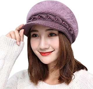 32fc8eac9c45f OMINA Womens Winter Warm Knitted Hats Slouchy Wool Beanie Hat Cap with Visor