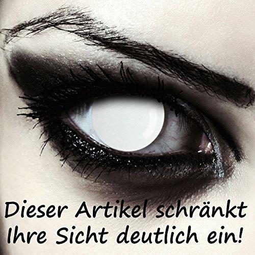 Komplett weiße Zombie Kontaktlinsen für Halloween Kostüm, 2 Stück, Designlenses Model: Blind White