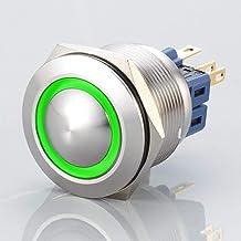 Gebogen roestvrij stalen knop - inbouwdiameter Ø 25 mm (groen)