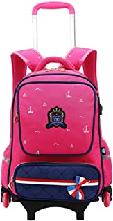 Boys Girls Trolley Schoolbag - Kids Rolling School Backpacks Waterproof Middle School Student Bag Removable Outdoor Travelling Nylon Kids Luggage