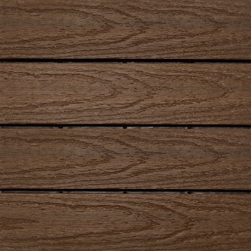NewTechWood US-QD-ZX-IP Ultrashield Naturale Outdoor Composite Quick Deck Tile (10 Case), 1' x 1', Brazilian Ipe