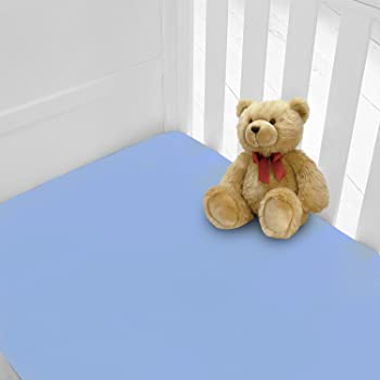 200 TC Super Soft Woven Cotton White and Blue 140 X 70 cm 2 Pack European Cot Bed Fitted Sheets, Frenchie Mini Couture 911