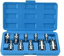 OCGIG 10 PCS Multi Triple Square Spline Socket Set Mechanics Auto Car Tool 1/4