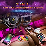 Car LED Strip Light, Wsiiroon Upgraded Remote and APP Two-in-one Control Multicoloured Music Car Interior Lights, 4pcs 48 LED, Sound Active Function, Waterproof, Multi-Mode Change(DC 12V)