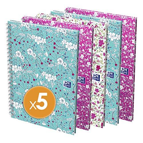 Oxford Hardcover Spiralbuch A5 kariert 5er Pack mit je 60 Blatt weiße Doppelspirale 3 Designs sortiert