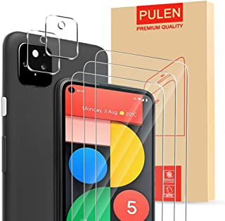 [5in1] PULEN for Google Pixel 5 screen protector 3 Packs with Camera Lens(2 Packs),High-definition Anti-scratch Anti-finge...
