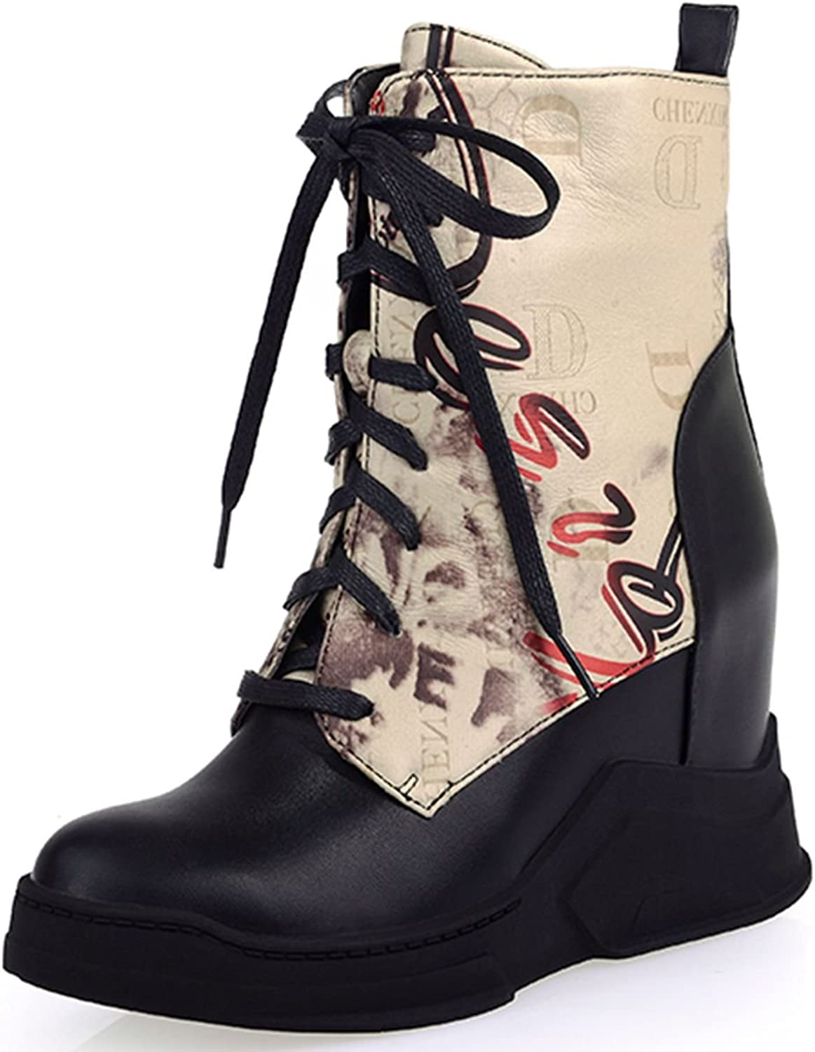 DoraTasia Synthetic Printed Ankle Calf Mid Calf Lace up Women's Platform Boots