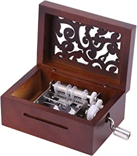 Hztyyier Caja de música de Madera Manivela Tallada Caja de música de Mecanismo Vintage DIY 15 Nota Caja de música de Cinta con manivela